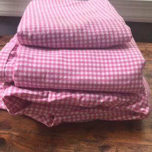 PotteryBarnKids Pink & White Gingham Twin Sheets
